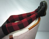 Thigh High Socks Leg Warmers Boot Socks Black Red Buffalo Plaid Cotton Knit A1394
