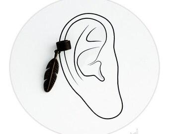 Feather Brass EarCuff