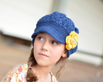 Navy and Yellow Hat for Girls, Crochet Hat for Toddlers, Crochet Newsgirl Beanie, Newsboy Hat for Girls, Little Girl Hat, Slouchy Beanie