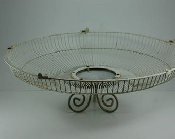 White Wire Basket Centerpiece Repurposed Salvaged Upcycled Fan Cage Distressed Painty Peely Industrial Cottage Shabby Garden Decor