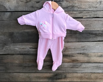 SUPER SALE  - Vintage Children's Pink & White Kitty Cat Hoodie and Footed Pant Fleece Outfit