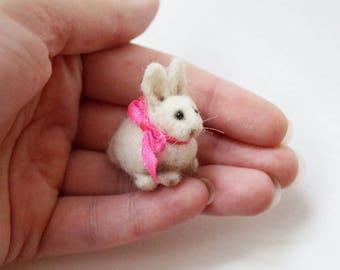 Tiny needle felted white rabbit