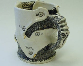 Industrial Cocoon Mug with 22k Gold Spikes