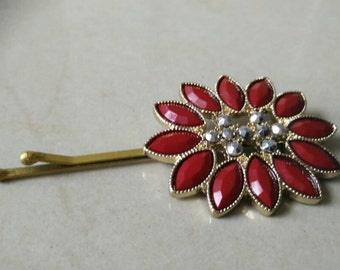 Red Studded pin,  Bobby Pin,  tichel pin,  unique hair covering,  hair accessories, by oshratDesignz rhinestone