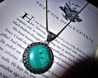 The Heir of Slytherin - Malachite Sterling Pendant - Power, protection, peace, business success, Earth Magic, Forest Magic, Balance, Dreams