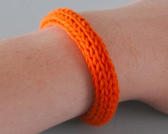 Orange Knitted Bracelet - Pumpkin Orange Silver Plated Chunky Cotton Bangle Colourful Jewellery Gift for Her by Emma Dickie Design