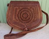Leather Saddle Bag, Cross Body Bag, Leather Bag, Cross-body Bag, Women Handbag, Vintage style saddle bag, leather saddle bag,embossed bag