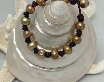 Gold Freshwater PEARLS ALL AROUND Bracelet
