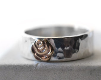 14k Gold Rose & Sterling Silver Ring, Wide Engravable Band, Custom Engraved Yellow Gold Flower Jewelry