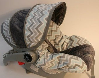 SALE Grey and Blue Chevron with Dark Grey Minky - Custom cover comes with FREE Strap Covers
