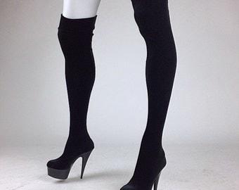 90's Black Velvet Platform Fabric Thigh High Boots // 7