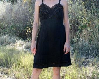 EBONY Vintage Slip Dress 1950's  Black Lace Eyelet Embroidery Intimates Undergarment Layering
