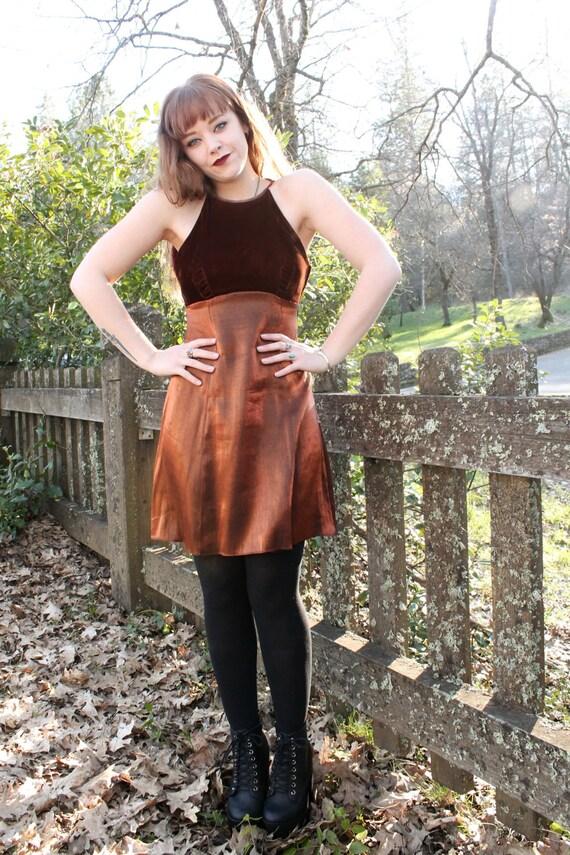 PENNY Copper 90's Party Dress Mini Velvet Backless Spaghetti Strap Formal Zum Zum