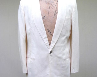 Vintage 1960s Dinner Jacket / 60s Ivory Linen Blend After Six Formal Jacket / 42 Regular