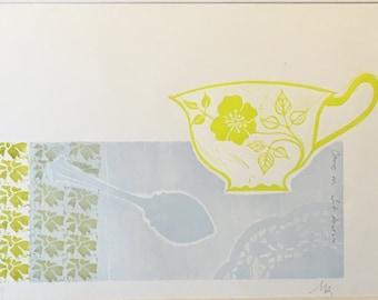 Come in, Sit down - lino print, original hand-printed teacup