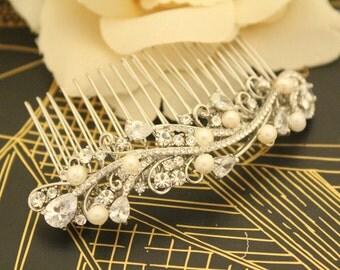 Silver hair comb,Pearl hair accessories,Crystal headpiece,Rhinestone Bridal comb,Wedding hair clip,Rhinestone hair accessories bohemian comb
