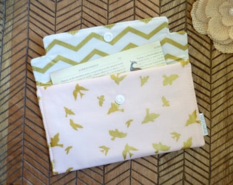 Coupon / Receipt Holder. Cash Wallet. Jewelry Pouch. Metallic Gold Birds, Cameo Pink, White, Chevron.