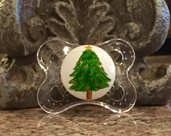 Oh Christmas Tree Custom Hand Painted Pacifier by PiquantDesigns