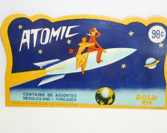 Vintage Sewing Needle Packet Advertising ATOMIC Rocket , Mint Condtion