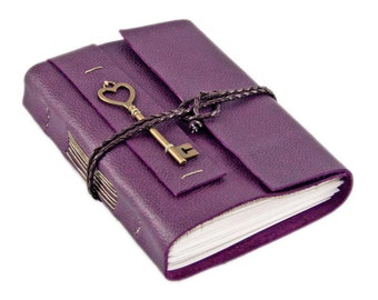 Purple Leather Journal with Blank Paper and Heart Key - Prayer Journal - Wedding Guest Book -