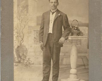 Antique Cabinet Photograph Dapper Man