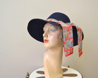1960s Betmar Navy Wide Brimmed Hat