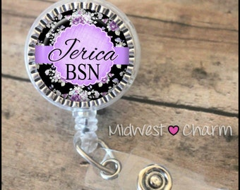 lavendar floral..Personalized retractable badge reel pinch...nurse.labor and delivery..lpn..rn..md..id holder..lanyard..bottlecap jewelry