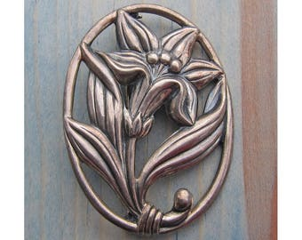 Vintage Sterling Silver Floral Lily Pin Brooch