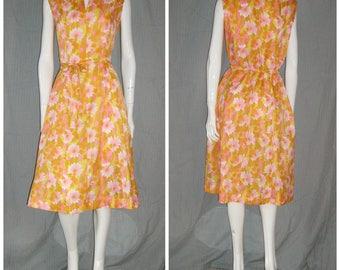 1960s Citrus Orange Pink Flowers  Hawaiian Tiki Poly Dress Vintage Sundress Hostess  Hippie Polynesian Belt Boho Mad Men Tiki Oasis