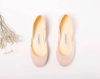 The Classic Leather Ballet Flats | Nude Slip Ons | Wedding Ballet Flats | Minimal Shoes | Ballet Shoes Blush Nude