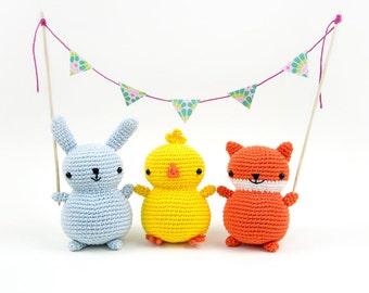 Chubby friends: bunny, chick and fox - Crochet Amigurumi pattern
