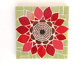 Flower Mosaic, red poppy mosaic artwork, mosaic wall art,