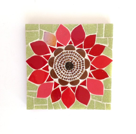 Red Mosaic Wall Decor : Flower mosaic red poppy artwork wall art