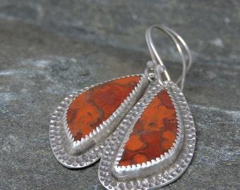 Red Earrings, Hornitos Poppy Jasper Earrings, Sterling Silver, Artisan Made, Modern Earrings, Red Orange Dangles, Handcrafted, Made in NH