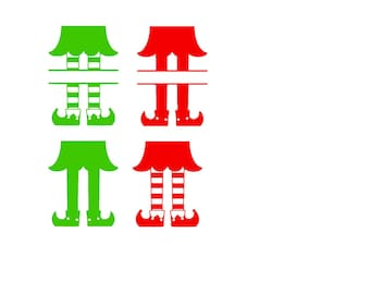 Christmas Elf Simple Monogram SVG or Silhouette Instant Download