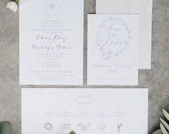 Floral Wreath Save the Date cards