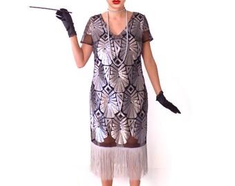 Art Deco Dress, Great Gatsby Dress, Retro Fringe Flapper Dress, Roaring 20s Dress, Downton Abbey,20s 1920s Black Silver Sequin Dress
