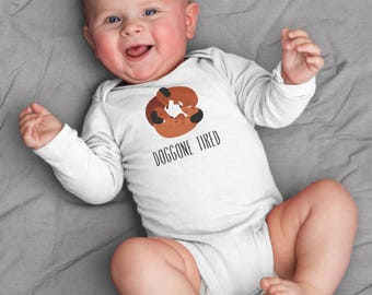 Baby clothes, Dachshund Doggone Tired baby bodysuit for baby boy or baby girl
