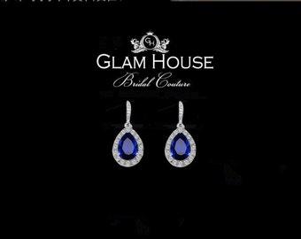Sapphire Blue Earrings,bridesmaid gift,September birthstone jewelry,blue earring,something blue,prom jewelry,sapphire jewelry,hook earrings