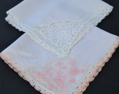Vintage Womens Handkerchief Embroidered Pink and White Floral Hanky Set of 2