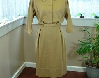Vintage 60s Beige Goldworm Dress - M