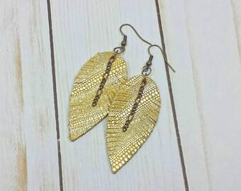 Shimmery Gold Leather Earrings, Boho Festival Earrings with Feather Motif, Leather Feather with Chain Earrings