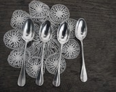 RESERVED 4 antiques french little spoons silvered, patina, punched, silver plate dessert spoons, teaspoons