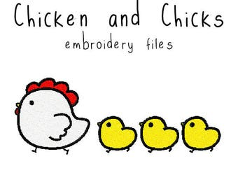 Chicken and chicks EMBROIDERY MACHINE FILES Instant Download multiple sizes animal spring holiday design pattern digital kawaii cute