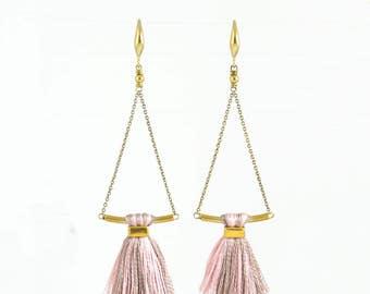 Tassel earrings | blush tassel earrings | pink tassel earrings | delicate brass earrings | spring jewelry | unique gift for her under 30