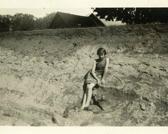 """Vintage Photo """"Joan's River Disappeared"""" Snapshot Antique Photo Old Black & White Photograph Found Paper Ephemera Vernacular - 67"""
