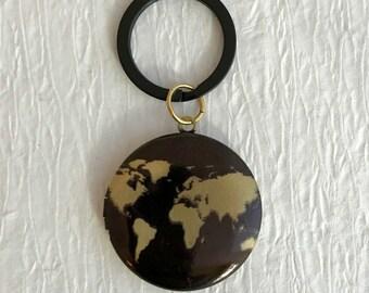 World Map Locket Keychain, men's groomsmen wedding gold brass vintage antique key chain photo earth globe travel gift gifts unisex men