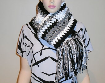 Black Crochet Scarf with fringes, Fringed Scarf, Crochet Scarf, Black White Scarf, Gray fringed Scarf, Black Gray White Scarf bernat yarn