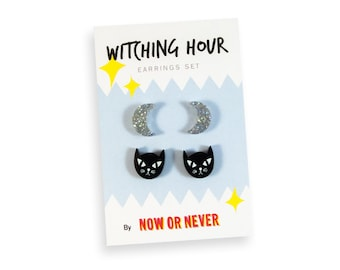 Crescent Moon Black Cat Stud Earrings Set - Witch Witchy Glitter Sparkle Snowflake Silver Holographic Rad Kitschy Cute Colorful Laser Cut