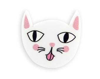 Cat Pin - Mocking Kitten White Pink Brooch Kawaii Cute Funny Kitschy Colorful Colorful Laser Cut Perspex Acrylic Kittens Retro